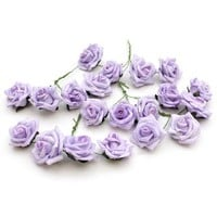 Lilac Wired Rose Heads 20 Pack