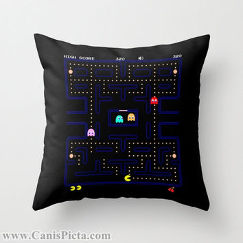 PacMan Video Game Throw Pillow 16x16 Graphic Decorative Cover Pop Culture Pac Man Gamer Hot 80s 90s Kid Namco Black Nerdy Nerd Geek Geekery