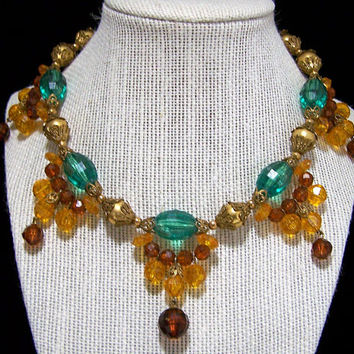 Amber and Teal Lucite Bead Necklace, Dangling Faceted Beads, Mid Century Vintage Beaded Jewelry, Costume Jewellery 917