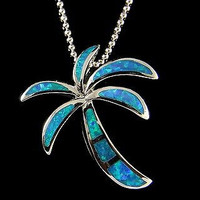 INLAY OPAL HAWAIIAN PALM TREE PENDANT STERLING SILVER 925 SMALL MEDIUM LARGE