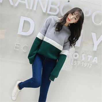 2017 Autumn Womens New Hoodies Long Sleeves Moletom Feminino Kpop Striped Streetwear Sweatshirt