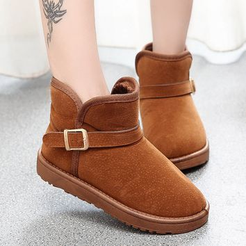 Fashion Women's Princess Buckle Shoes Warm Winter Snow Boots
