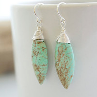 Green Turquoise Earrings Turquoise Earrings by Jewels2Luv on Etsy