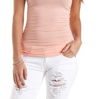 Destroyed White Denim Bermuda Shorts by Charlotte Russe - White