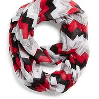 Red Multi Chevron Infinity Scarf