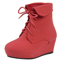Kids Ankle Boots Lace Up Suede Casual Wedge Shoes Red SZ