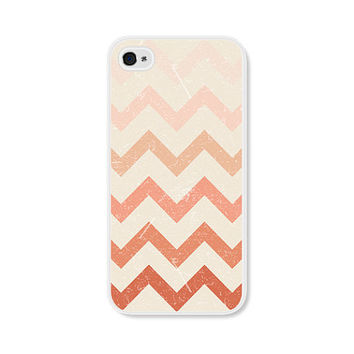 Ombre Cream and Peach Chevron iPhone 4 Case - Pink iPhone 4 Skin - Ombre iPhone 4 Cover - Coral Cell Phone Case