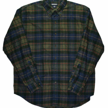 Vintage 90s Lands End Plaid Flannel Button Down Shirt Mens Size 17 - 17 1/2 (XL)