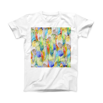 The Vivid Watercolor Feather Overlay ink-Fuzed Front Spot Graphic Unisex Soft-Fitted Tee Shirt