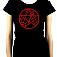 Necronomicon Gate Alchemy Symbol Women's Babydoll Shirt Occult Clothing HP Lovecraft