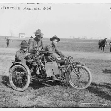 c.1908 WWI Motorcycle Mounted Machine Gun and Soldiers-Antique-Old-Vintage Reproduction Photograph/Photo/Poster: Gicclee Print. Frame it!