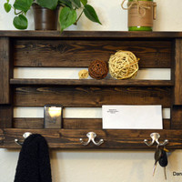 Rustic Wood Hall Foyer Entryway organizer Keys Phone Mail Holder Hat Coat Rack Double Hooks With Shelf Dark Walnut