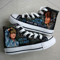 Justin Bieber's Albums Themed Hand Painted High-top Shoes- Four Themes