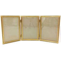 Vintage Gold Metal Frame, 5x7 Picture Frame, Triple Photo Frame, Three Frames, Hinged, Tri Fold, Art Deco, Hollywood Regency, Wedding Decor