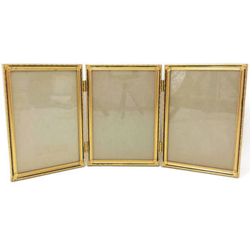 vintage gold metal frame 5x7 picture frame triple photo frame three frames