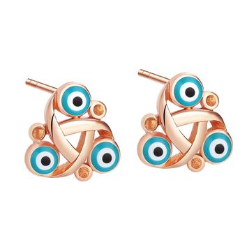 Small Cute Celtic Triquetra Knot Evil Eye ProtectiGold-Tone Lucky Charms Sky Blue Amulet Earrings