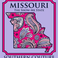 Southern Couture Missouri Preppy Paisley State Pattern Show Me State Girlie Bright T Shirt