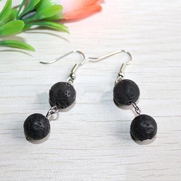 Nature Lava Stone Essential Oil  Earrings