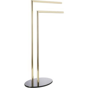 CP Standing Double Towel Rack for Bathroom Spa Towel Hanger, Glass Base, Brass