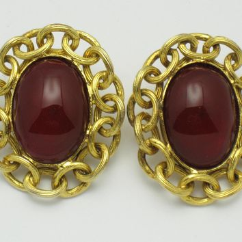 CHANEL Red Gripoix Glass Gold Plated Clip Earrings