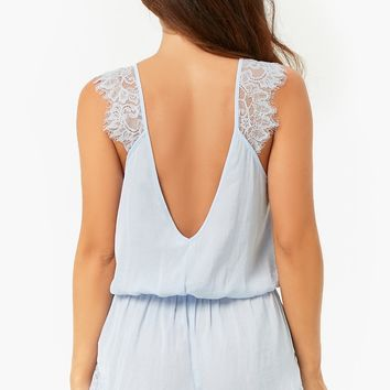 Satin Eyelash-Trim Romper