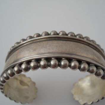 Sterling Silver 925 Heavy Beaded Cuff Bracelet Wide Bead 2.5 in Mexico