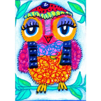 Owl Art, Whimsical Art, Owl Wall Art, Art For Kids, Childrens Room Decor 8 x 10 by Paula DiLeo