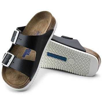 Best Online Sale Birkenstock Arizona Soft Footbed Leather Black 0230154/0230156 Sandal