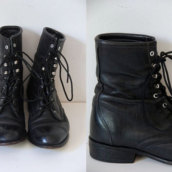 Vtg Laredo Sz 6.5 Black Leather Roper Lace Up Boots