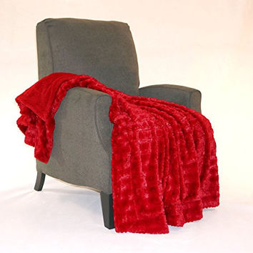 """BNF Home Fulton Faux Fur Throw Blanket, 50 by 60"""", Jester Red"""