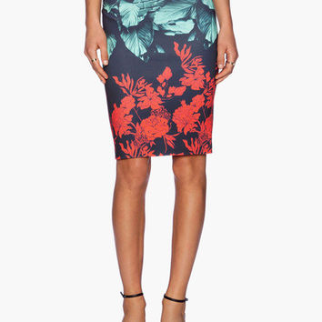 Dark Blue Floral and Leaves Print Pencil Skirt