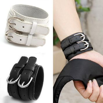 Trendsetting Double Belt Wrist Punk 100% Real Leather Buckle Bracelet for Men's by Ritzy