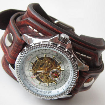 shop custom leather cuffs for men on wanelo brown leather watch cuff men s watch leather wrist watch custom leather cuff