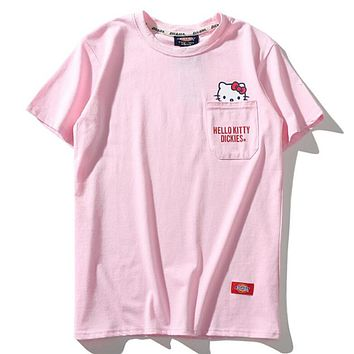Dickies X Hello Kitty Summer Fashion Classic Women Men Loose Chest Pocket Half Sleeve Cotton T-Shirt Top Pink I-Great Me Store