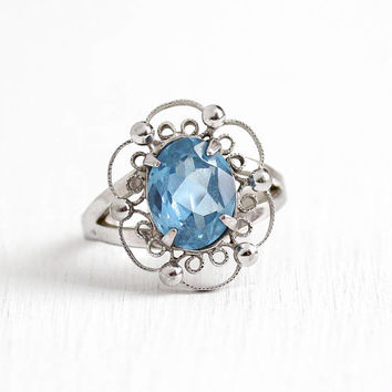 Vintage Sterling Silver Created Blue Spinel Filigree Ring - Retro 1950s Size 6 1/4 Light Blue Oval 2 + Carat Stone Signed Sorrento Jewelry