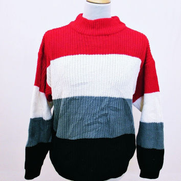 Vintage 90s Striped Shaker Knit Jumper Sweater Medium