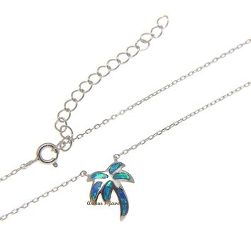 """925 Sterling Silver Hawaiian Palm Tree Blue Opal Necklace Chain Included 18""""+2"""""""