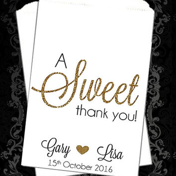 WB189 - Thank You Favors // Gold Glitter // A Sweet Thank You // Candy Buffet // Wedding Candy Bag // Popcorn Bags // Favor // Personalized