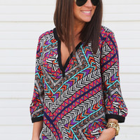 Sophisticated Geo Blouse