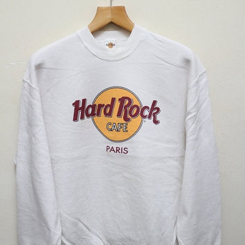 15% OFF Vintage HARD ROCK Cafe Paris Pullover Sweatshirt Sweater White Color Size L