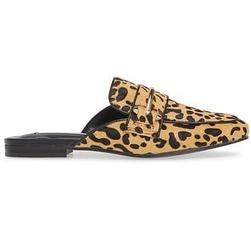 Steve Madden Kori - Leopard Print Calf Hair Open Back Flat Loafer