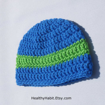 Baby Hat Featuring Green Stripe on Etsy - Blue Crochet Hat for Baby Boy - Newborn, 3 Months, 6 Months - MADE TO ORDER