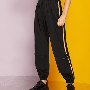 Zipper Dual Pocket Side Stripe Cargo Pants