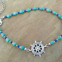 Nautical Anklet Turquoise Lapis Sterling Silver by ZorroPlateado
