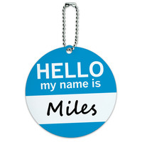 Miles Hello My Name Is Round ID Card Luggage Tag