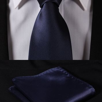 Pure Navy Blue:Wedding Jacquard Woven Men Tie Necktie Pocket Square Handkerchief Set Suit