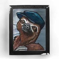 Sloth Art Print Hat Cute Animal Portrait by rainbowofcrazy on Etsy