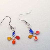 Dangle resin earring. Resin Jewelry. Silver Wire Jewelry. Blue orange red yellow Summer. Gifts for her. nickel free handmade jewelry, dangle