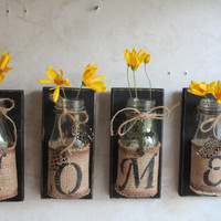 HOME Wall Decor..Set of 4...Upcycled Bottles....HOME Decor....Country Prim...Country Decor...Cabin Decor..Custom Orders Welcome