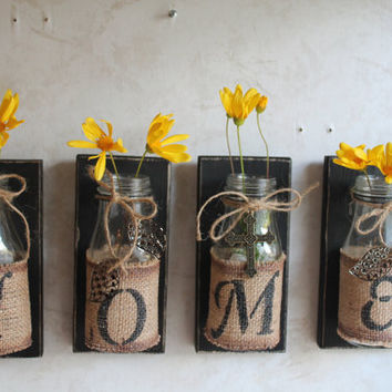home wall decorset of 4upcycled bottles - Home Decorator Items